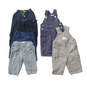 Lot of 6 Baby Boy's Pants & Overalls, 6-9m